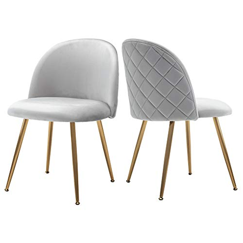 Upholstered Velvet Dining Chairs, Tufted Accent Living Room Chairs with Gold Plating Metal Legs for Living Room/Kitchen/Vanity/Patio, Set of 2 (Thunder Gray)
