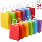 24 Pieces Kraft Paper Rainbow Party Favor Bags with Handle Assorted Colors (Rainbow)