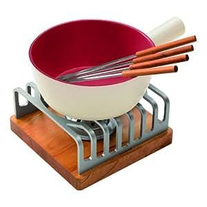 Kuhn Rikon 32188 Alpina - Fondue (apta para inducción, 9 piezas: cacerola, hornillo, masa para quemar y 4 tenedores)