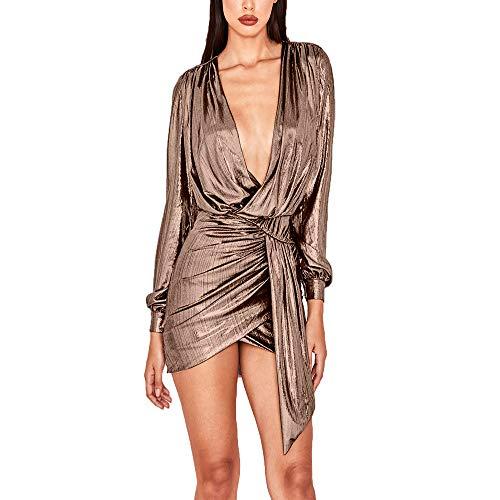 - Sprifloral Women's Sexy Deep V Neck Metallic Long Sleeve Bodycon Mini Dress Clubwear