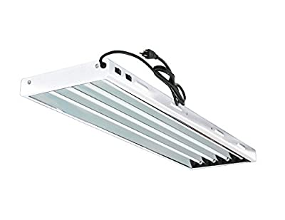 Grow Co. T5 4 ft 4 Lamp Fluorescent Fixture 6500K HO Bulbs Included for Hydroponic Indoor Gardening