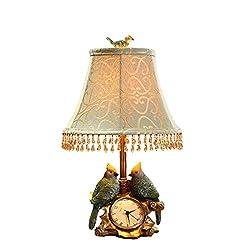 PINCHU Modern Creative Pastoral Clock Table Lamp Bird Desk Lights For Living Room Bedroom Bedside Study Home Lighting Fixtures Decor