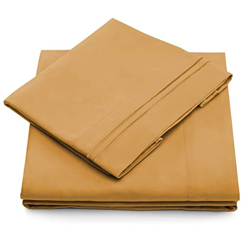 Cosy House Collection King Size Bed Sheets - Gold Luxury Sheet Set - Deep Pocket - Super Soft Hotel Bedding - Cool & Wrinkle Free - 1 Fitted, 1 Flat, 2 Pillow Cases - Tan King Sheets - 4 Piece