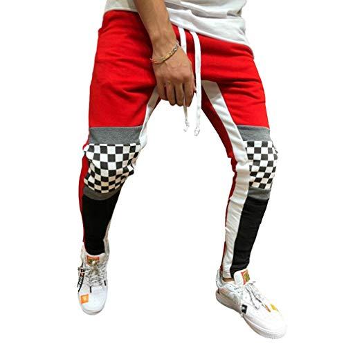 Bloc Poches Sportive Rouge Pantalons Jogging Pantalon Couleur Taille Sport Pour Jogger Élastiquée Gymnastique Survêtement Patchwork Hommes Hibote De Entraînement w1Xnq070