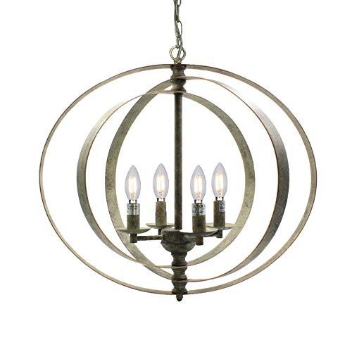 Wideskall 4-Bulbs Industrial Globe Chandelier Lighting Fixture, 22-inch Metal Cage, Oil Rubbed Bronze Finish
