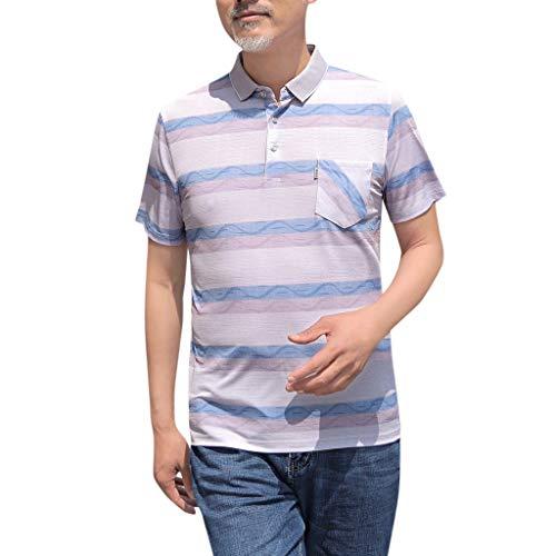 Kekebest 2019 Summer Trendy Popular Top for Men,Blouse T-Shirts Vest Fashion Men Middle-Aged Pocket Slim Slim Short Sleeve Turn-Down Collar Alternative Vintage 50/50 Keeper Sport Lucky Burnout Notch ()