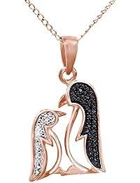 Black & White Natural Diamond Mom & Me Penguine Pendant Necklace 14k Gold Over Sterling Silver