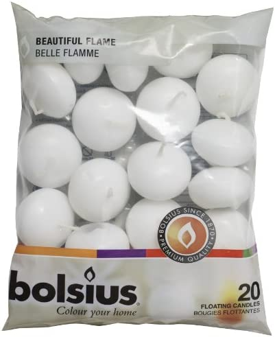Bolsius Candele galleggianti Decorative, Cera, Bianco, 4.5cm w X 3cm h, 20 unità