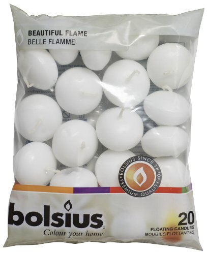 Bolsius Unscented Floating Candles - Set of 20 White Floating Candles - Cute Elegant Burning Candles - Candles Nice Smooth Flame - Party Accessories ()