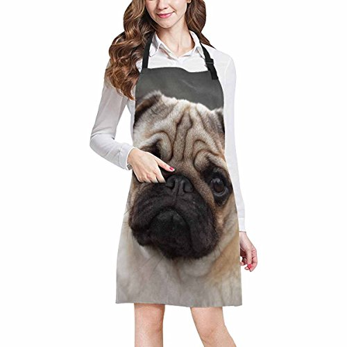 InterestPrint Beautiful Male Pug Puppy Sad Dog Chef Kitchen Apron, Adjustable Strap & Waist Ties, Front Pockets, Perfect for Cooking, Baking, Barbequing, Large Size