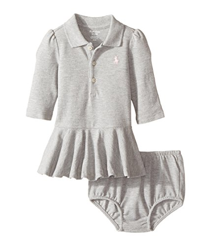 Baby Girl Polo Dress - RALPH LAUREN Baby Girls Long-Sleeve Cotton Polo Dress Andover Heather (3 Months)