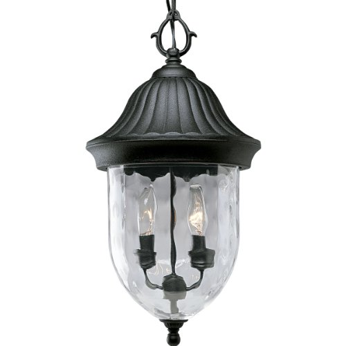 Progress Lighting P5529-31 1-Light Chain Hung Lantern with Optic Hammered Clear Glass to Complement The New Fieldstone Finish, Textured (Coventry Outdoor Lantern)