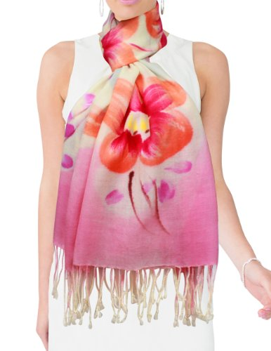 Dahlia Women's 100% Merino Wool Pashmina Scarf - Hand Painted Peach Blossom Pink