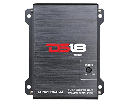 DS18 CANDY-MICRO2 - Amplifier in Black - Class D, 2 Channels, 80 Watts Max, Digital, 2/4 Ohm - Don't Sacrifice Space for Power - Compact Mini Ampflier for Speakers in Car Audio System