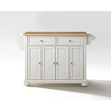 Crosley Furniture Alexandria Kitchen Island With Natural Wood Top White