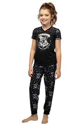 Harry Potter Hermione Hogwarts Crest Athletic Jogger Pajama 2pc Set, Black, 7/8