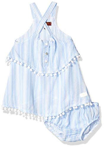 (7 For All Mankind Kids Baby Girls Crinkle Tiered Dress with Bloomer Cover, Wallpaper Stripe, 0-3 Months)