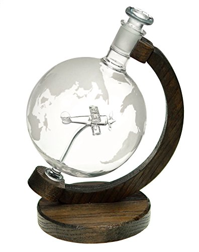 Etched Globe Liquor Decanter - Scotch Whiskey Decanter - 1000ml Glass Decanter for Alcohol - Vodka, Bourbon, Rum, Wine, Tequila or Even Mouthwash - Sopwith Camel (Prestige - Plastic Pilot Man