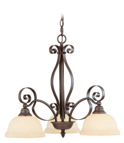 Livex Lighting 6153-58 Manchester 3 Light Imperial Bronze Chandelier with Vintage Alabaster Glass