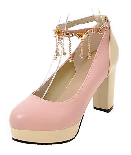 Luccichio AgooLar Rosa Colore Ballet Flats Donna Fibbia Tacco GMMDB005930 Assortito Alto UUwt4q