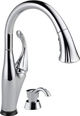 Delta Faucet 9192T-SD-DST Addison Single Handle Pull-Down Kitchen Faucet with Touch2O Technology and Soap Dispenser, Chrome