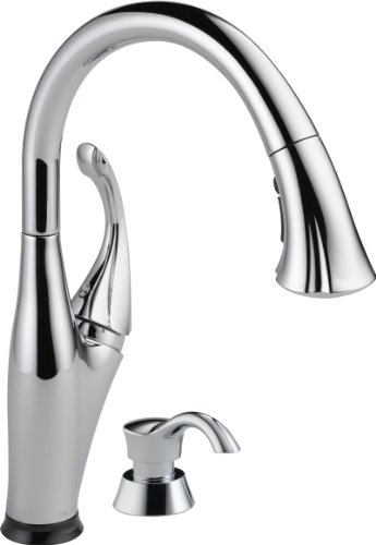Delta Faucet 9192T-SD-DST Addison Single Handle Pull-Down Kitchen Faucet with Touch2O Technology and Soap Dispenser, Chrome by DELTA FAUCET