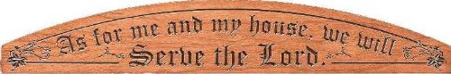 Door Four Cherry - As For Me And My House We Will Serve The Lord 24 x 4 Cherry Wood Carved Door Sign