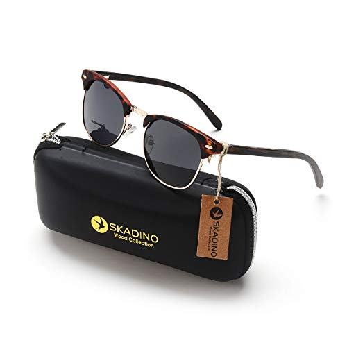 (SKADINO Clubmaster Beech Wood Sunglasses with Polarized Lens-Black Ebony with Grey Lens SKD204)