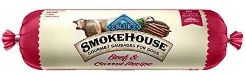 BLUE Smokehouse Gourmet Sausages Adult Beef & Carrot Recipe Dog Food Roll 1-lb