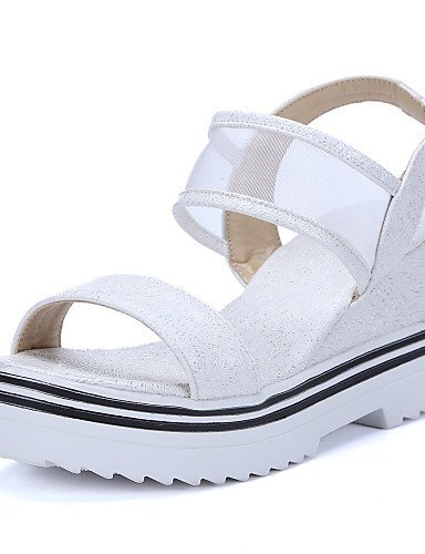 ShangYi Women's Shoes Fleece Wedge Heel Wedges / Comfort / Ankle Strap / Open Toe Sandals Office & Career / Dress Pink / White White lmnAtVy