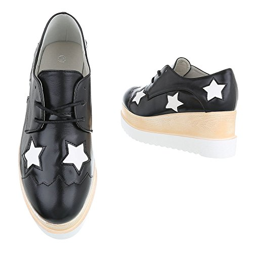 Cordones p Zapatos Mujer Planos design Schwarz Con Ital 803 q7OIwI