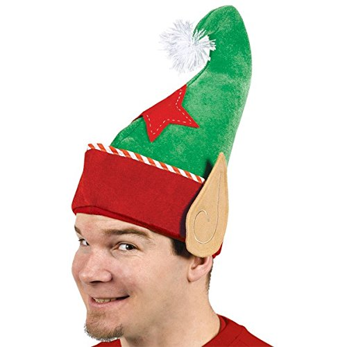 [Amscan Fun-Filled Christmas and Holiday Party Jolly Elf Hat, Green/Red, 14
