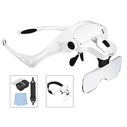Lighted Head Magnifying Glass Headset with LED Light Headhand Magnifier Loupe Visor Hands Free for Jewelry,Repair,Sewing,Crafts,Eyelash Extension,5 Lenses(1X,1.5X,2X,2.5X,3.5X) by Diwetenker (Image #1)