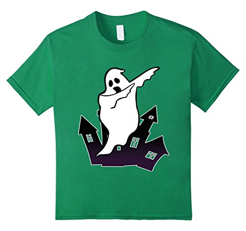 Kids Dabbing Ghost Funny Halloween Monsters Dab Dance Shirts 10 Kelly Green (Play On Words Halloween Costumes 2017)