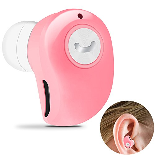 Yelion Bluetooth Headphone,Wireless Invisible Bluetooth Earbuds,Auto Stereo Headsets,Mini Bluetooth Earpiece,Bluetooth V4.1 Support Hands-Free Call Compatible with iPhone and Androidd (Pink)
