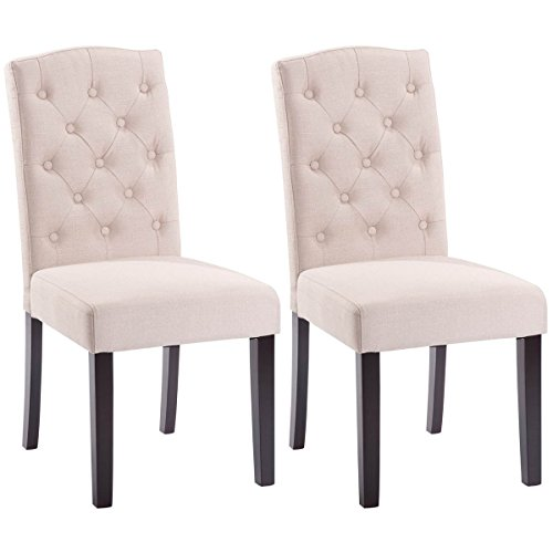 Giantex Set of 2 Linen Fabric Wood Accent Dining Chair Tufted Modern Living Room (Beige) (Sitting Chairs)