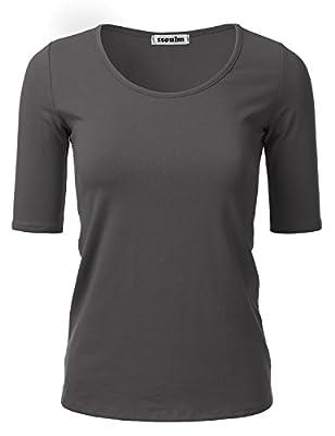 SSOULM Women's 1/2 Sleeve Scoopneck Cotton Basic Slim Fit T-Shirt Top with Plus Size