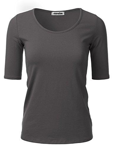 SSOULM Women's 1/2 Sleeve Crewneck Cotton Basic Slim Fit T-Shirt Top CHARCOALGREY M (Tee Half Sleeve)
