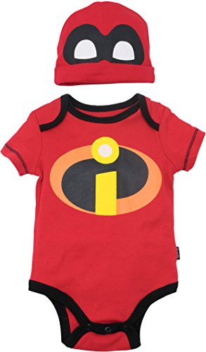 Incredible Costumes For Family (Disney Pixar The Incredibles Baby Costume Bodysuit and Hat Red (0-3)