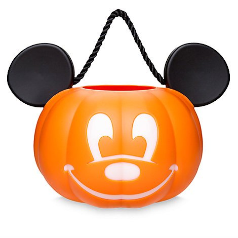 Disney Park Mickey Mouse Pumpkin Light Up Halloween Trick or Treat Candy Bucket Bag Pail Jack O'Lantern NEW for $<!--$38.79-->