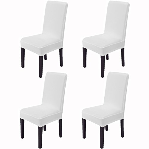 Awland Dining Chair Slipcovers Protector Removable Short Stretch Spandex Dining Room Banquet Chair Seat Cover for Kitchen Bar Hotel and Wedding Ceremony 4PCS – White