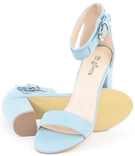 d871771bfbe1c ESTATOS Matte Leather Ankle Strap Block High Heeled Light Blue Sandals