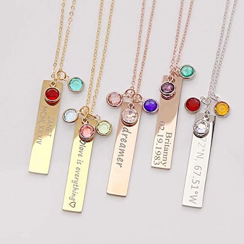 Birthstone Gold Necklaces for Women Gemstone Jewelry Graduation Gift for Her Emerald Necklace Birthstone Gift Family Tree Necklace - 8N-BS (Trees Birth)