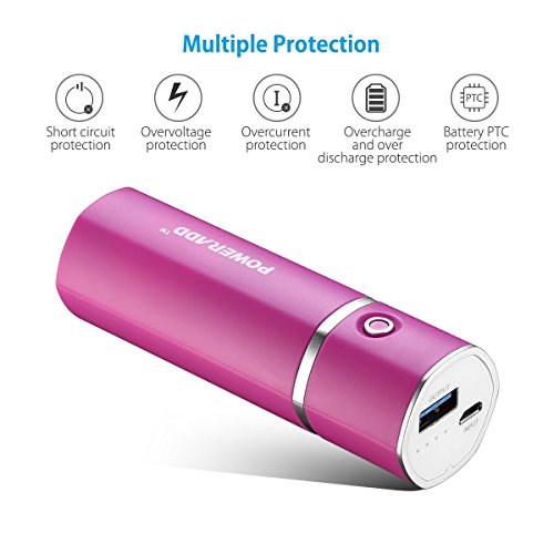 Poweradd Slim2 almost all compressed 5000mAh portable Charger power Bank thru intelligent fee for iPhones Samsung Galaxy USB allowed things rose bush Red portable power Banks