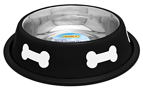 RUFFIN' IT Fashion Steel Bowl, 16-Ounce, Black with White Bones