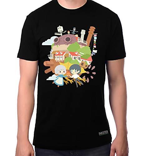 Howl's Moving Castle Studio Ghibli T-Shirt (Medium, Black)