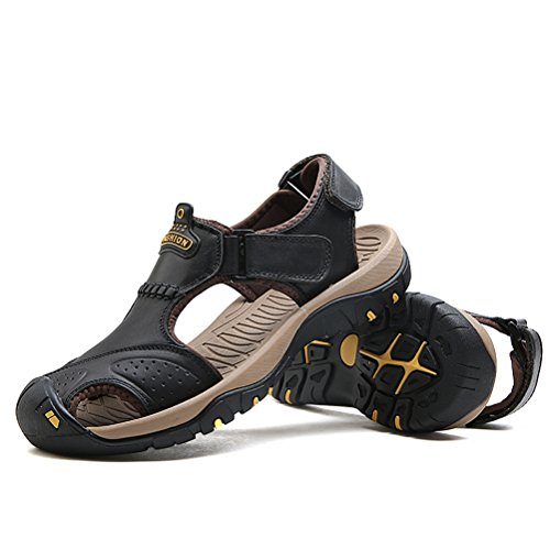 Sandals Hiking Athletic Summer Men's Sport Walking Casual Leather SUNROLAN Shoes Strap Fisherman Beach Outdoor Water Black gtOOqw