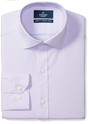 BUTTONED DOWN Men's Tailored Fit Spread-Collar Solid Non-Iron Dress Shirt (No Pocket), Purple, 16.5