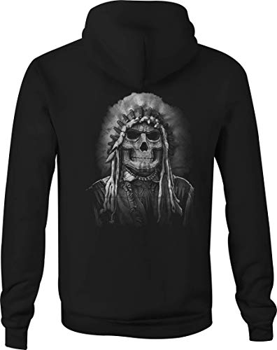 Zip Up Hoodie Painted Face Skull American Indian Native Chief - 2XL Black