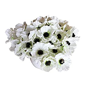 12 Stems Artificial Poppies Real Touch PU Fake Latex Flowers for Wedding Holiday Bridal Bouquet Home Party Decor (White) 9